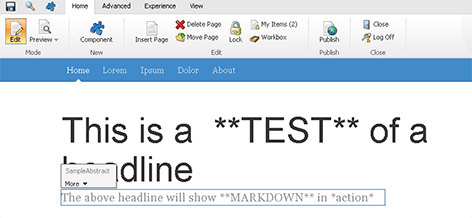 Markdown in page edit mode