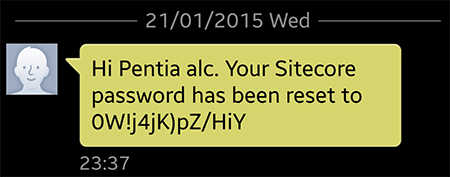 password recovery text message
